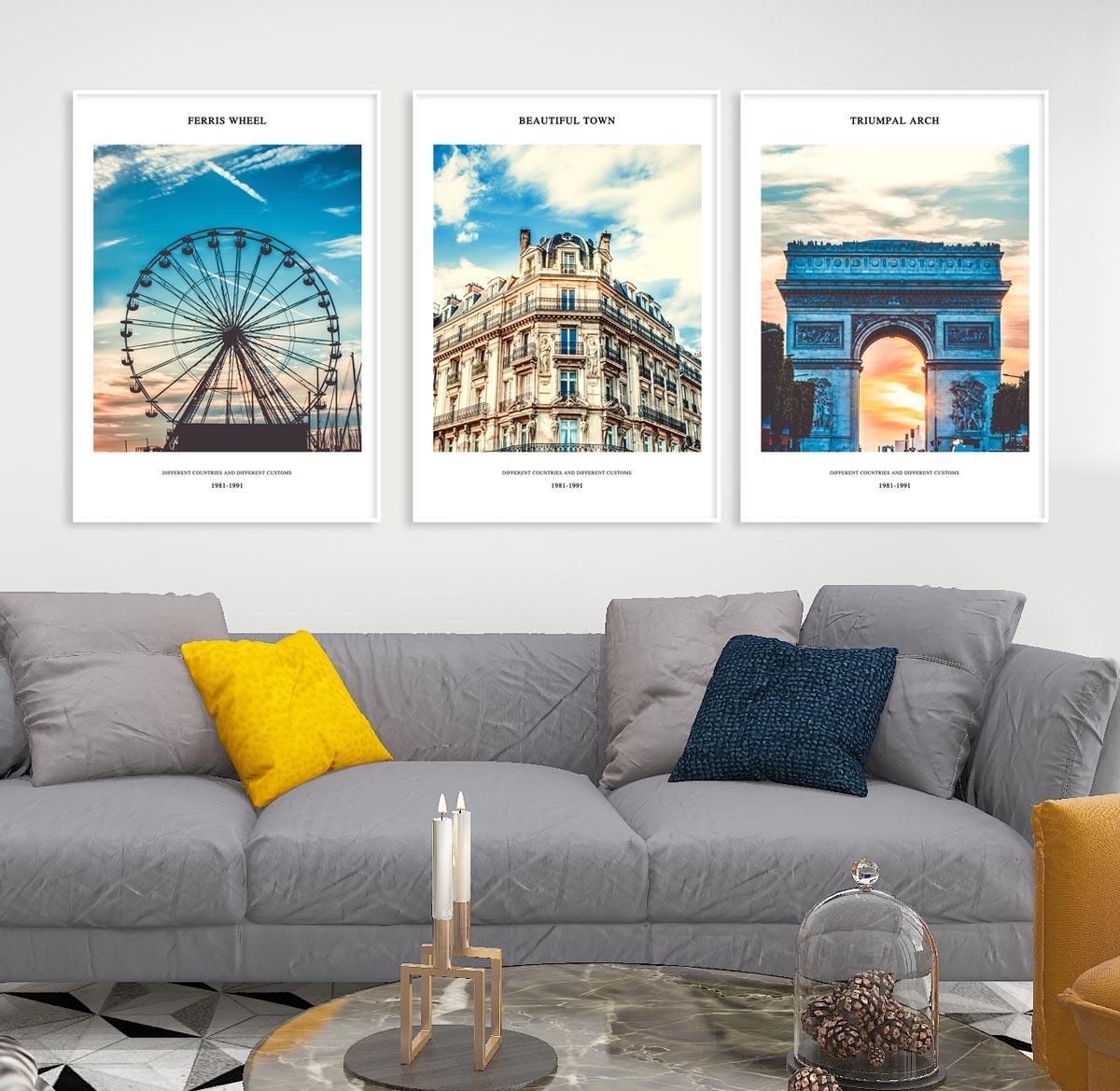Bộ 3 tranh kiến trúc Châu Âu đẹp