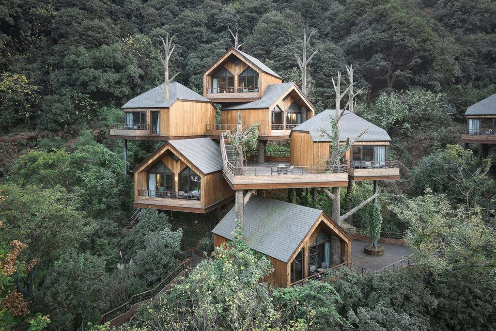 nhà gỗ đẹp, home stay gỗ trong rừng