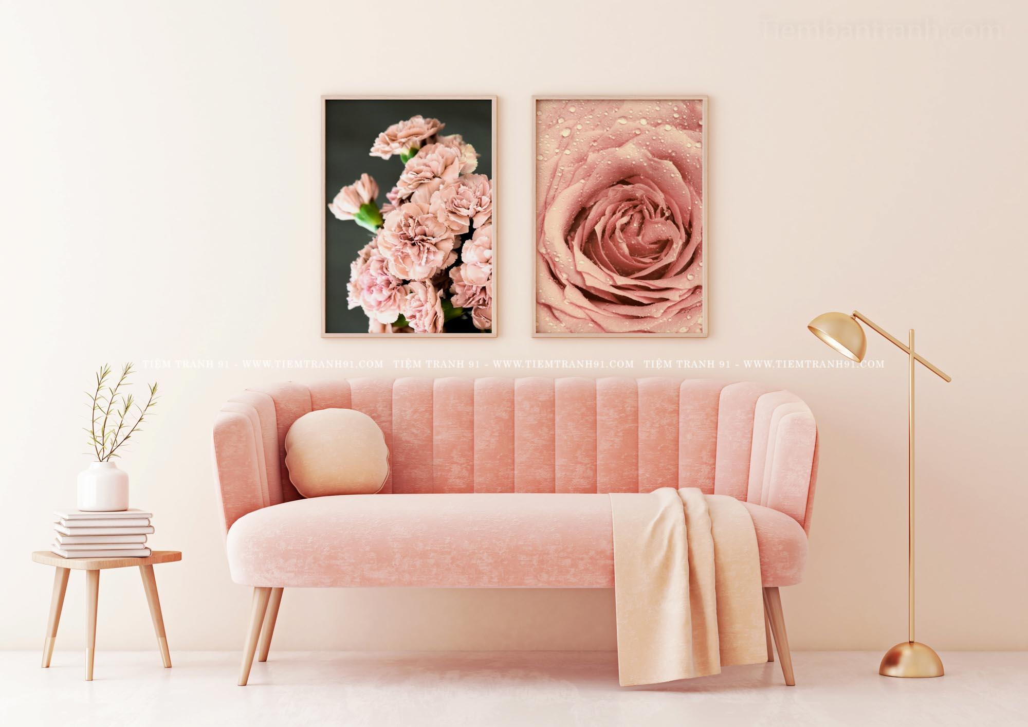 tranh phòng ngủ khách sạn lãng mạn