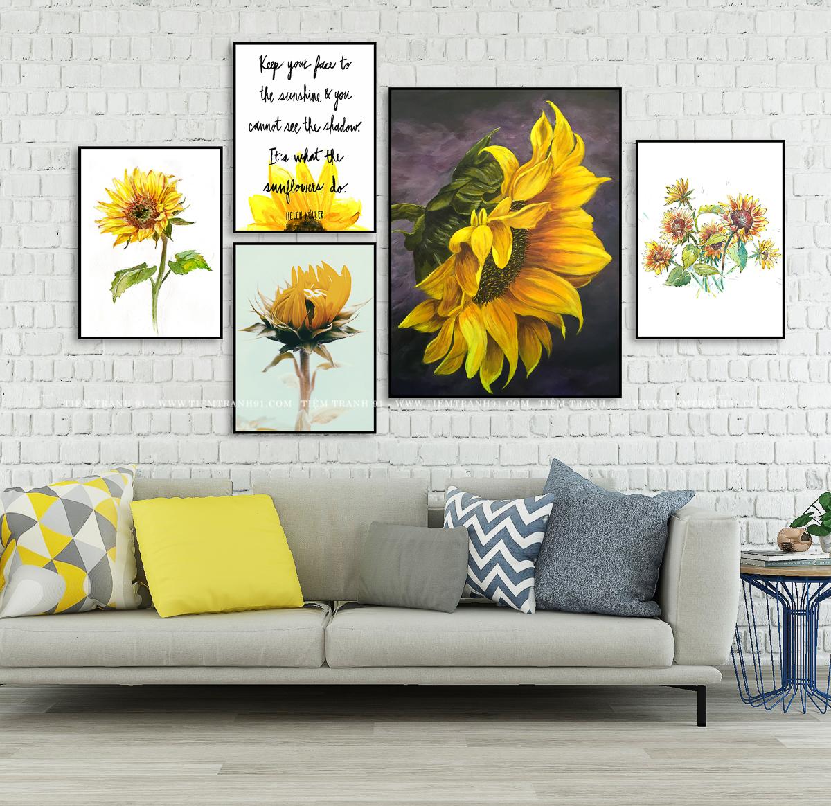 Tranh hoa hướng dương đẹp cho phòng ngủ