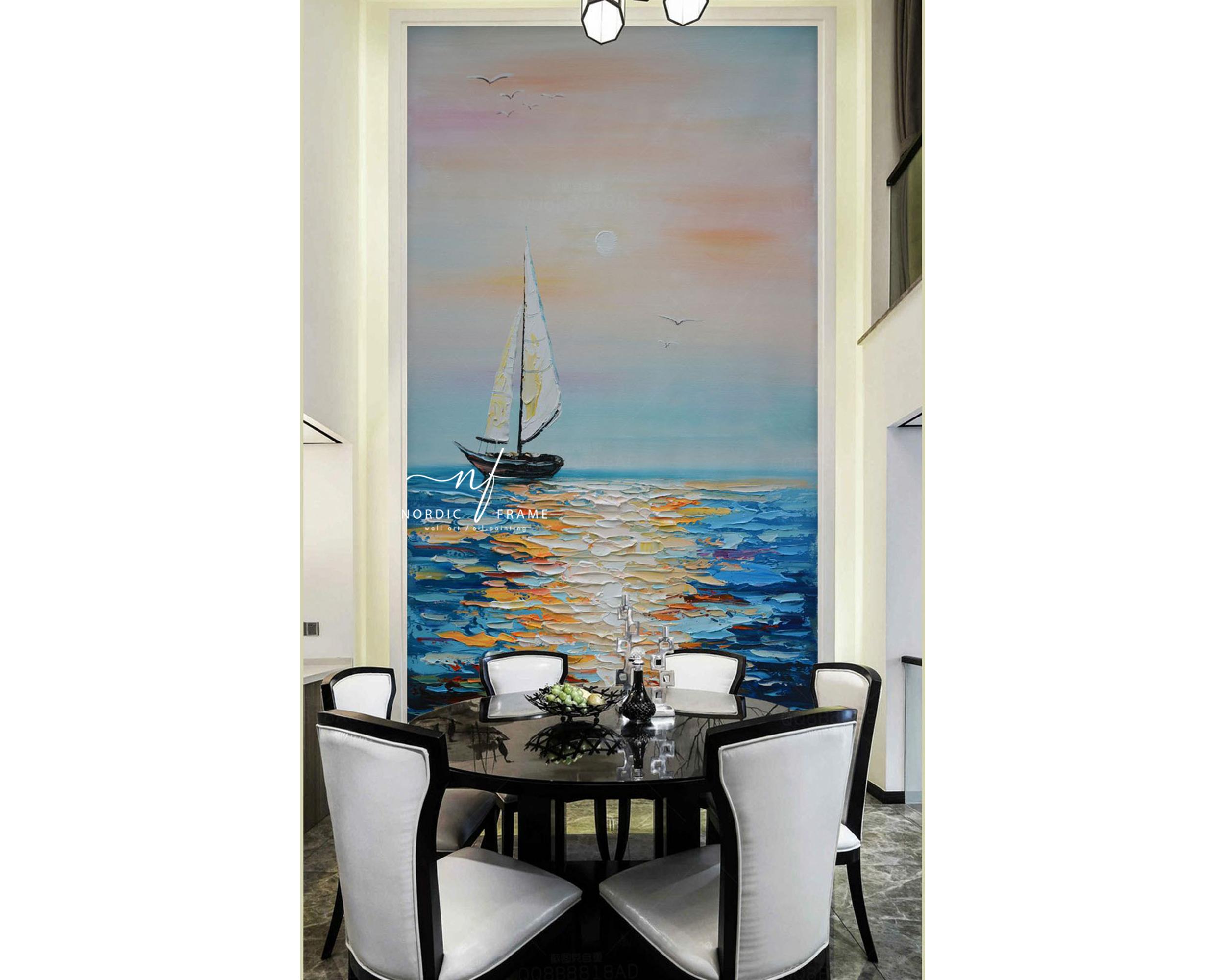 tranh sơn dầu phong cảnh hiện đại biển thuyền